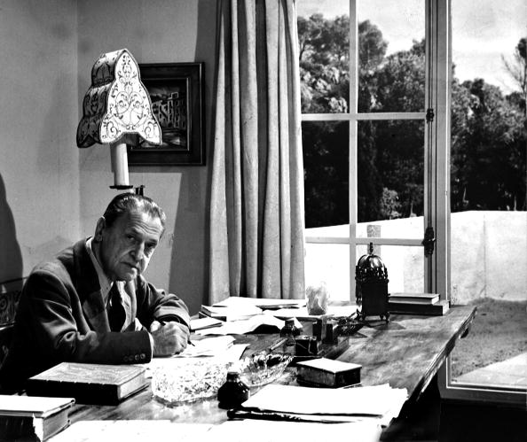 "Literature. pic: circa 1940's. Somerset Maugham, (1874-1965) English writer pictured at home. He was a secret agent in Russia in World War I and among his novels are ""Of Human Bondage"" 1915, ""The Moon and Sixpence"" 1919, and ""Ashenden"" 1928."